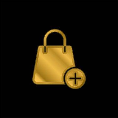 Bag gold plated metalic icon or logo vector stock vector
