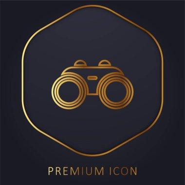 Binocular golden line premium logo or icon stock vector