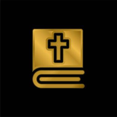 Bible gold plated metalic icon or logo vector stock vector