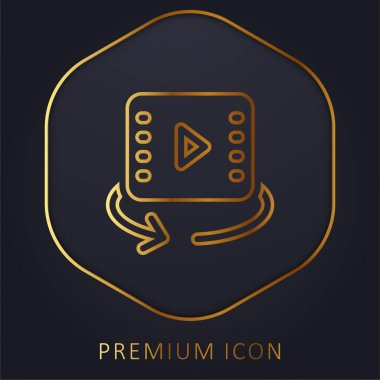 360 Video golden line premium logo or icon stock vector