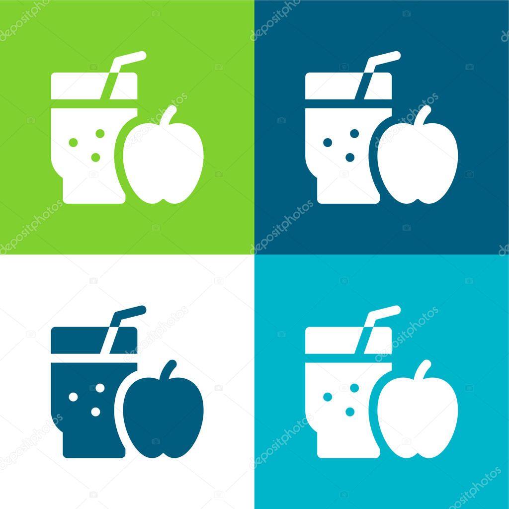 Apple Juice Flat four color minimal icon set stock vector