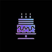 Születésnap torta kék gradiens vektor ikon