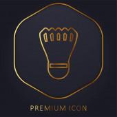 Badmintom Cock zlaté linie prémie logo nebo ikona