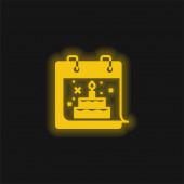 Narozeninová žlutá zářící ikona