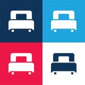 Ágykék és piros négy szín minimális ikon készlet
