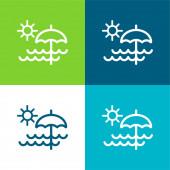 Beach Day Flat čtyři barvy minimální ikona nastavena