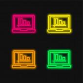 Analýza čtyř barevných zářících neonových vektorů