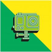 Akční kamera Zelená a žlutá moderní 3D vektorové logo ikony