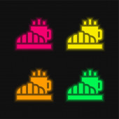 Reggeli négy színű izzó neon vektor ikon