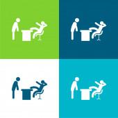Boss Office Flache vier Farben minimales Symbol-Set