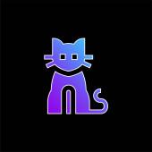 Černá kočka modrý gradient vektor ikona