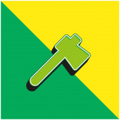 Axt Grünes und gelbes modernes 3D-Vektor-Symbol-Logo