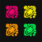 Csillagászat négy szín izzó neon vektor ikon