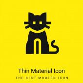 Černá kočka minimální jasně žlutý materiál ikona