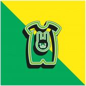 Dětská látka s obrysem králičí hlavy Zelená a žlutá moderní 3D vektorové logo ikony