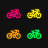 Bicycle four color glowing neon vector icon