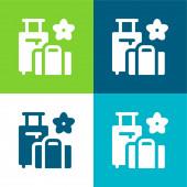 Zavazadla Byt čtyři barvy minimální ikona nastavena