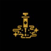 Allergie Shots vergoldet metallisches Symbol oder Logo-Vektor