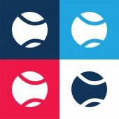 Míč modrá a červená čtyři barvy minimální ikona nastavena