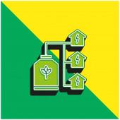 Bio Energy Grünes und gelbes modernes 3D-Vektor-Symbol-Logo
