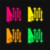 Atmen vier Farben leuchtenden Neon-Vektor-Symbol