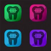Zahnspange vier Farbe Glas Taste Symbol