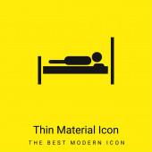 Postel s osobou ležící na to minimální jasně žlutý materiál ikona