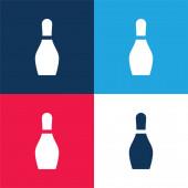 Bowling modrá a červená čtyři barvy minimální ikona nastavena