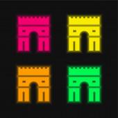 Arc De Triomphe čtyři barvy zářící neonový vektor ikona