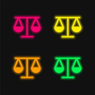 Balancing Scale Outline four color glowing neon vector icon stock vector