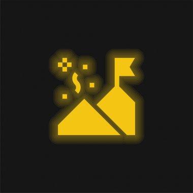 Achievement yellow glowing neon icon stock vector