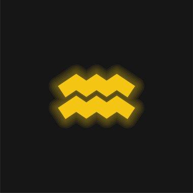 Aquarius yellow glowing neon icon stock vector