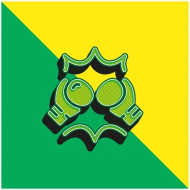 Boxing Gloves Green and yellow modern 3d vector icon logo stock vector