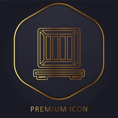 Box golden line premium logo or icon stock vector