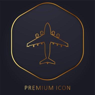 Airplane golden line premium logo or icon