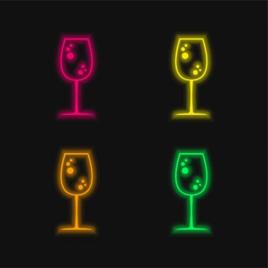 Big Drink Glass With Bubbles four color glowing neon vector icon stock vector