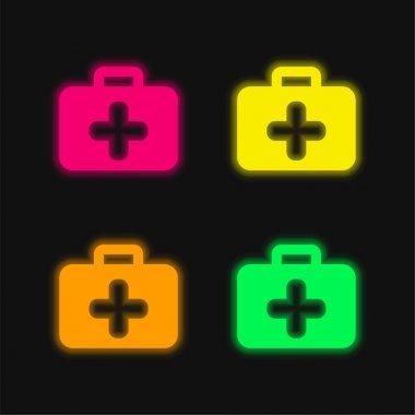 Briefcase four color glowing neon vector icon stock vector