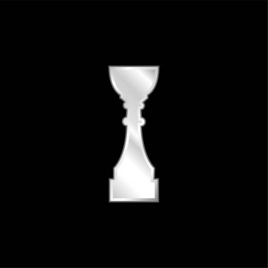 Award Trophy Cup Tall Black Silhouette silver plated metallic icon stock vector