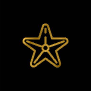 Beach gold plated metalic icon or logo vector stock vector