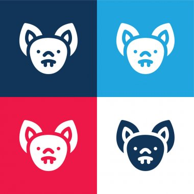 Bat blue and red four color minimal icon set stock vector