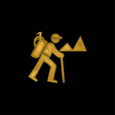 Backpacker Hiking gold plated metalic icon or logo vector stock vector