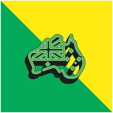Australia Green and yellow modern 3d vector icon logo stock vector