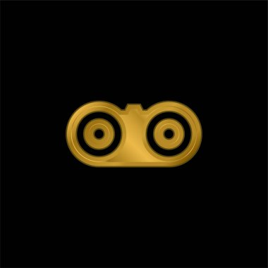 Binoculars gold plated metalic icon or logo vector stock vector