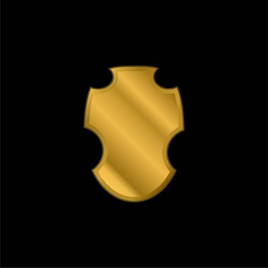 Black Warrior Shield gold plated metalic icon or logo vector stock vector