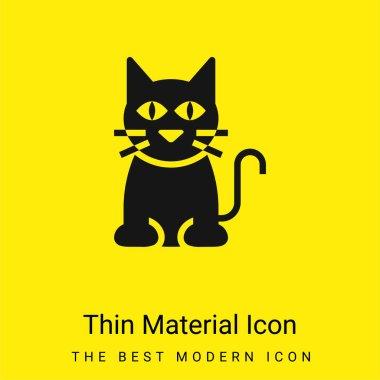 Black Cat minimal bright yellow material icon stock vector