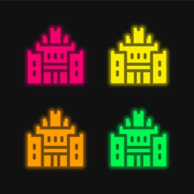 African Heritage House four color glowing neon vector icon