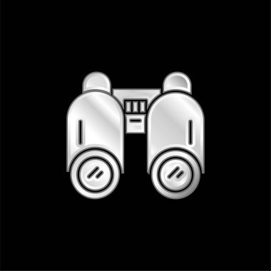 Binoculars silver plated metallic icon stock vector