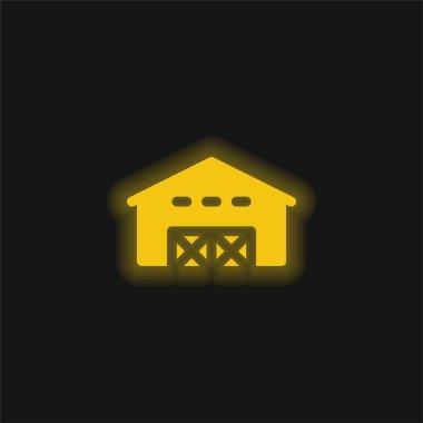 Barn yellow glowing neon icon stock vector