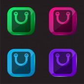 Taška s velkou rukojetí čtyři barevné tlačítko ikona
