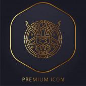 Baphomet golden line premium logo or icon